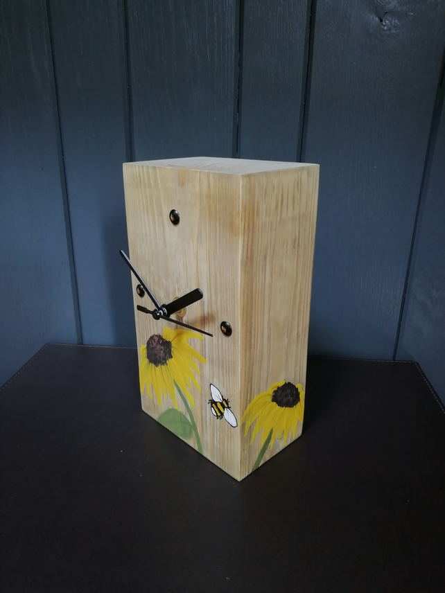 Artwork Clock - Sunflowers & Bee's - Wooden - Each one Unique