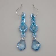 Baby blue beadwoven blue sponge quartz and baroque crystal drop earrings
