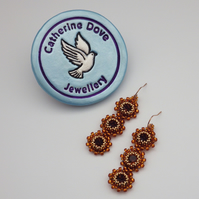 Tantalising topaz coloured beadwoven Swarovski crystal earrings