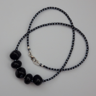 Black handmade lampwork glass nugget and spacer bead necklace