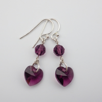 Sparkling Swarovski amethyst purple heart and round bead earrings