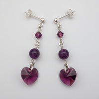 Sparkling Swarovski amethyst purple heart earrings with round amethyst beads