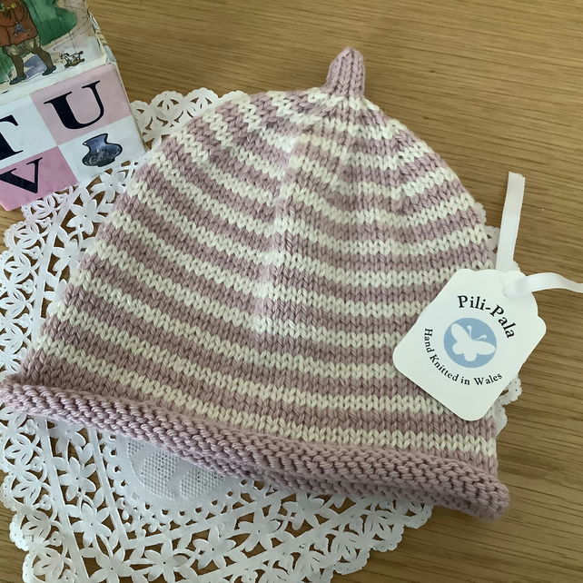 Hand Knitted Baby Beanie 3-9 months
