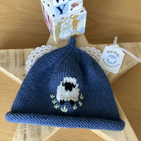 Hand Knitted Cashmere Blend Baby Beanie 0-6 Months