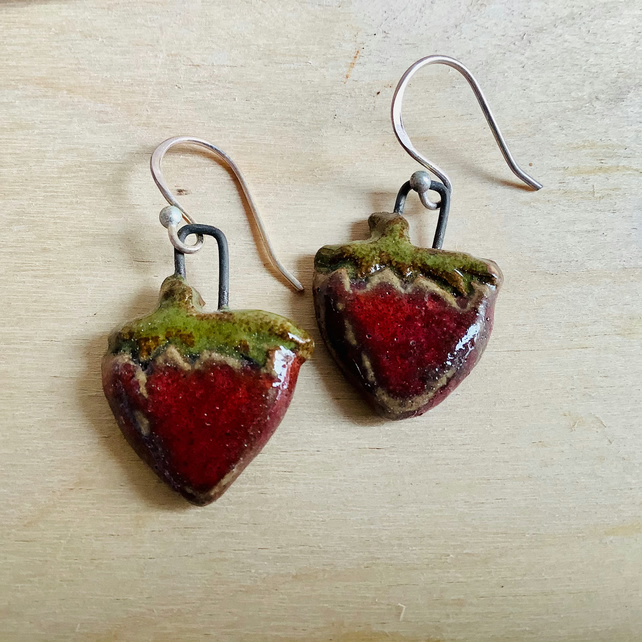 Strawberry earrings with sterling silver hooks