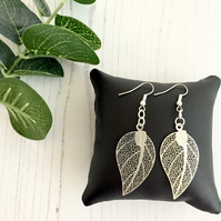 Silver Plated Filigree Leaf Drop Earrings