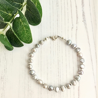Pale Grey Freshwater Pearls and Sterling Silver Beaded Bracelet