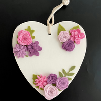 Wooden Heart with Handmade Pink, Purple and Lilac Felt Flowers