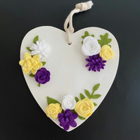 Wooden Heart with Handmade Yellow, White and Purple Felt Flowers