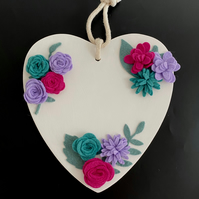 Wooden Heart with Handmade Pink, Lilac and Green Felt Flowers