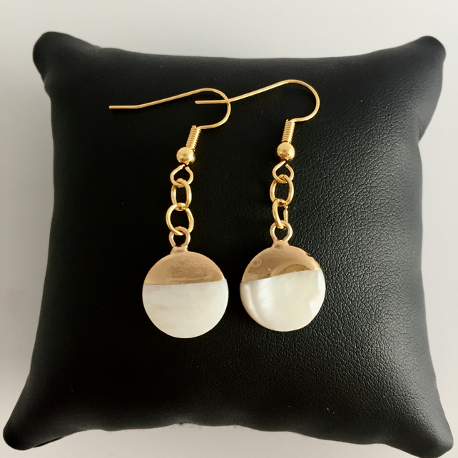 Mother of Pearl Disk Charm Drop Gold Plated Earrings