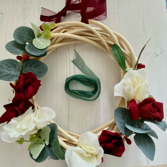 Light Willow Wreath with faux Red and White Flowers (10 x 10 inches)