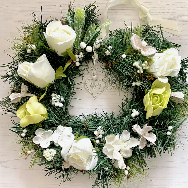 Cream, White and Green Faux Floral and Fir Xmas Wreath (12 x 12 inches)
