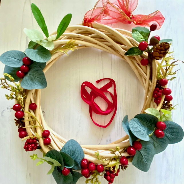 Light Willow Wreath with faux Eucalyptus Leaves & Red Berries (10 x 10 inches)