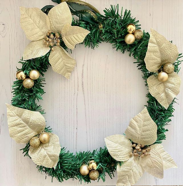 Artificial Green Fir and Gold Flower Round Christmas Wreath  (14 x 14 inches)