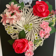 Pink White and Green Faux Floral Wicker Puffy Heart (10 x 10 inches)