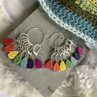 Stitch markers for crochet or knitting, woodland, leaves, rainbow colours.