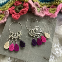 Stitch markers for crochet or knitting, woodland, leaves, purple pink colours.