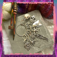 Halloween goth knitting or crochet stitch markers, set of 8