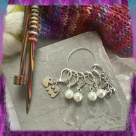 Retro gaming knitting or crochet stitch markers, set of 6