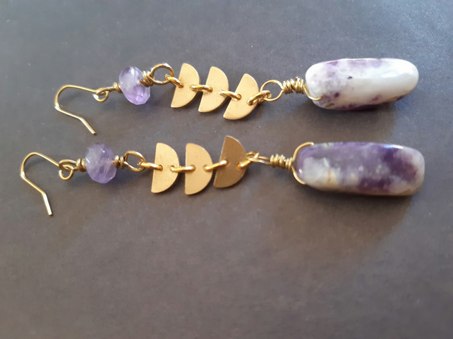 Brass purple opal gemstone earrings