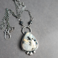 Tiger dentrite agate sterling silver necklace
