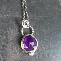 Amethyst rose cut sterling silver Necklace