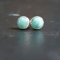 Sterling silver larimar studs