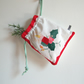 Christmas drawstring bag, reusable wrapping, with vintage fabric Advent candle.