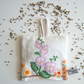 Lavender bag made in a soft, floral, vintage embroidery