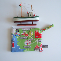 Vintage tea towel purse or make up bag, with a map of Plymouth and Devon.