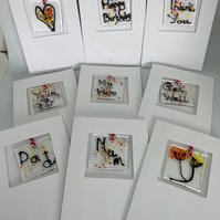 (Set of 6) Glass Art Keepsake Occasions Cards