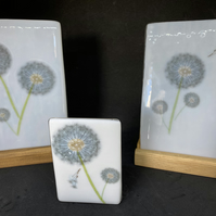 Dandelion tall fused glass display in handmade stand