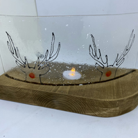 Fused glass Rudolph Christmas Curve