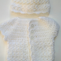 Cardigan and hat set- premature or tiny newborn size- white