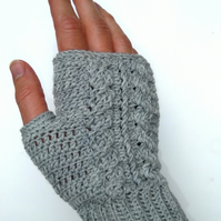 Ladies fingerless merino wool gloves- hand crocheted in your choice of colour