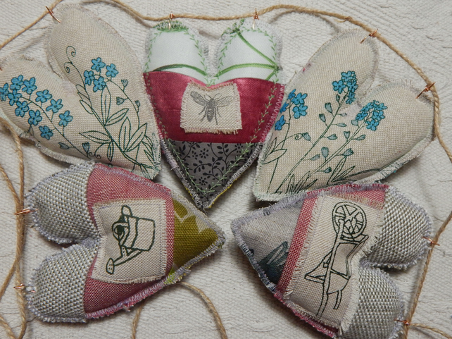 Patchwork hearts - 60 cm  - Gardening theme Bunting, wall hanging