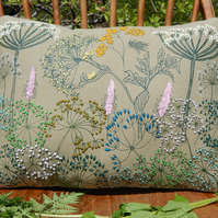 Hedgerow Cushion - Screen printed with hand embroidery