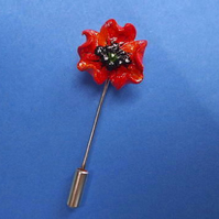 TINY RED POPPY PIN Wedding Corsage Lapel Flower Pin Brooch HANDMADE HAND PAINTED
