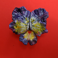 PURPLE PANSY BROOCH Viola Remembrance Clay Lapel Flower Pin HANDMADE HANDPAINTED