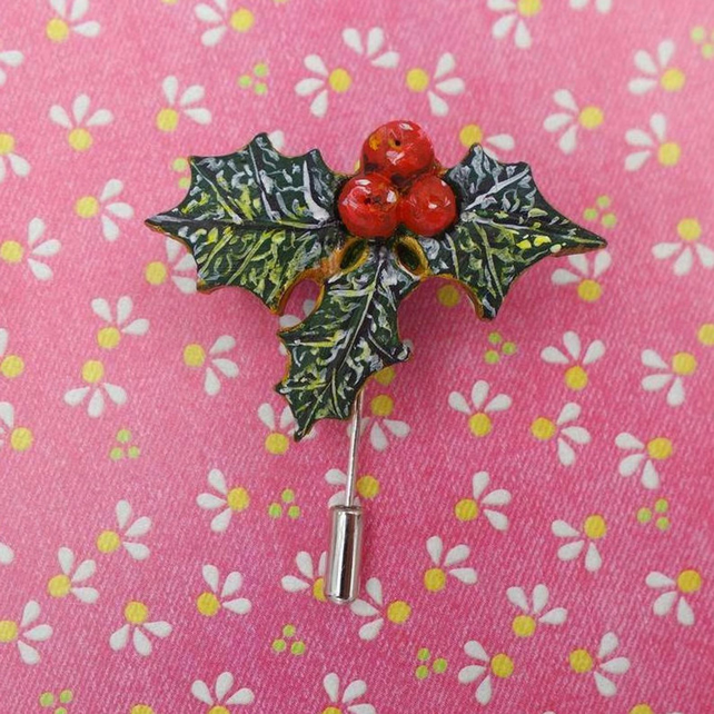 Christmas HOLLY & RED BERRIES Pin Festive Wedding Brooch HAND PAINTED