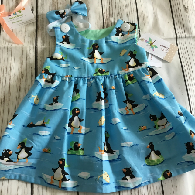 Baby girl 1st birthday dress, Penguins, matching hair bow, party dress, 12 month