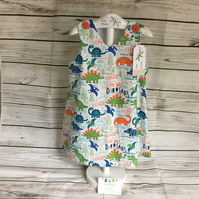 6-9m - 3-4 years  Girls summer dress, white Dinosaur dress, summer dress
