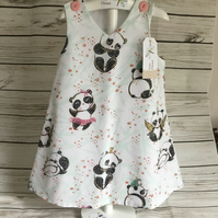 6-9 months, 3-4 years, Girls Panda dress, white summer dress, pinafore
