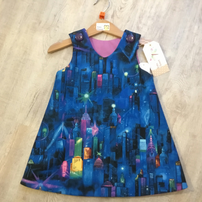 Toddler pinafore dress, Manhattan Skyline , New York, party dress 1 and 2 years