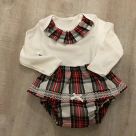 Baby Tartan first Christmas outfit, panties and onesie to match 9-12 months