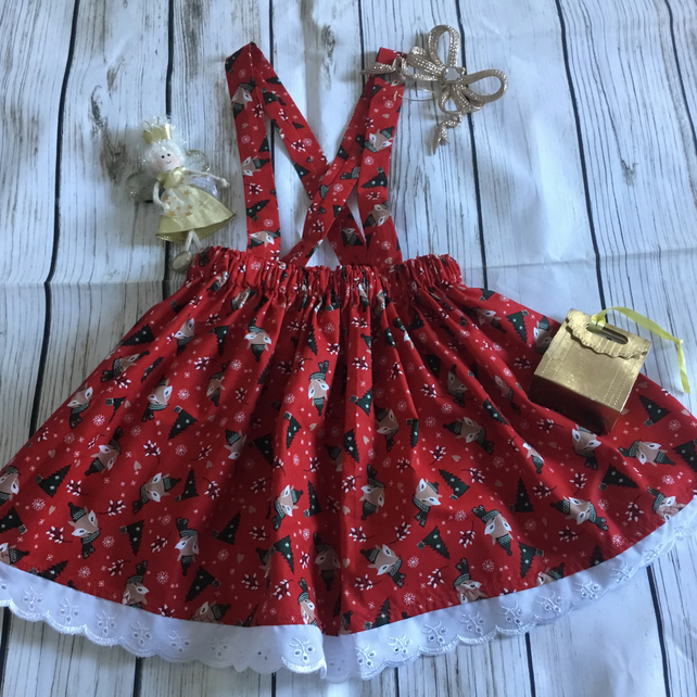 Girls Red Christmas suspender skirt, frilly skirt age 2-3 years