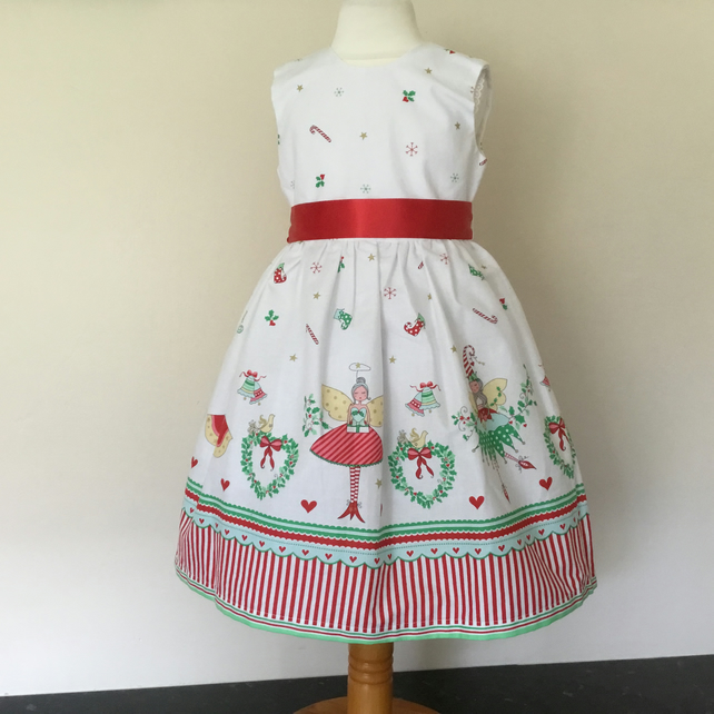 Girls Christmas Party Dress, white dress with Christmas  fairies age 3 years