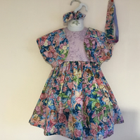 Girls party dress, Flower Fairies dress and bolero,Christmas party 2 years