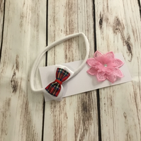 Girls interchangeable hair band with two separate bows and pink flower design
